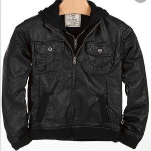 CHOR Mens Medium Creep Faux Leather Hooded Jacket